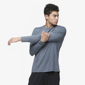Eastbay EVAPOR Fitted Long Sleeve Crew - Men's - Grey-Charcoal Heather