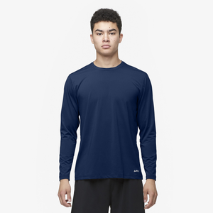 Eastbay EVAPOR Fitted Long Sleeve Crew T-Shirt - Men's - Navy