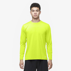 Eastbay EVAPOR Fitted Long Sleeve Crew - Men's - Fierce Yellow
