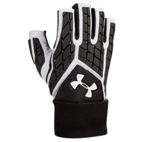 Under Armour Combat V Half Finger Lineman Gloves - Men's - White / Black