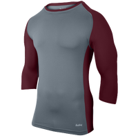 Eastbay Baseball Compression Top - Men's - Grey / Maroon