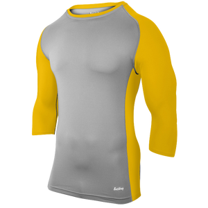 Eastbay Baseball Compression Top - Men's - Grey/Gold