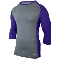 Eastbay Baseball Compression Top - Men's - Grey / Purple