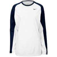 Nike Team Elite L/S Shooting Shirt - Women's - White / Navy