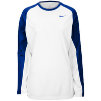 Nike Team Elite L/S Shooting Shirt - Women's - White / Blue