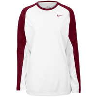 Nike Team Elite L/S Shooting Shirt - Women's - White / Maroon