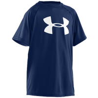 Under Armour Big Logo Tech S/S T-Shirt - Boys' Grade School - Navy / White