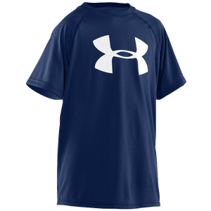 Under Armour Big Logo Tech T-Shirt - Boys' Grade School - Midnight Navy/White