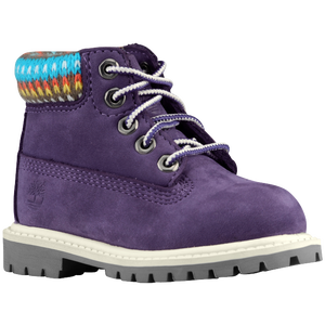 "Timberland 6"" Premium Waterproof Boots - Boys' Toddler - Purple/Multi Sweater"