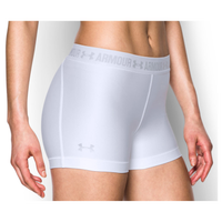 "Under Armour HeatGear 3"" Compression Shorts - Women's - White / Silver"