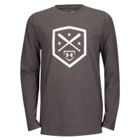 Under Armour Homeplate Long Sleeve T-Shirt - Boys' Grade School - Grey / White