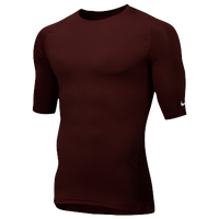 Nike Team Core 1/2 Sleeve Compression Top - Men's - Maroon / Maroon