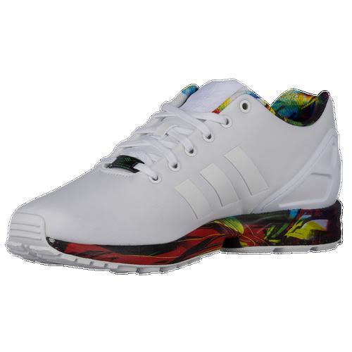 Adidas originals zx flux men s running shoes white white blue