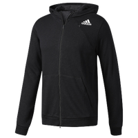adidas Cross-Up Full Zip Hoodie - Men's - All Black / Black