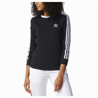 adidas Originals 3 Stripes Long Sleeve T-Shirt - Women's - Black / White