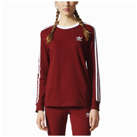 adidas Originals 3 Stripes Long Sleeve T-Shirt - Women's - Red / White