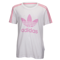 adidas Originals Junior Three Stripes T-Shirt - Girls' Grade School - Pink / White