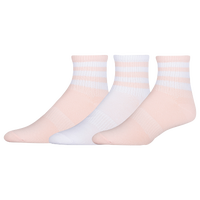 adidas Originals 3-Pack 3-Stripe Quarter Socks - Women's - Pink / White