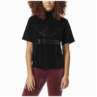 adidas Originals Velvet Vibes Boxy T-Shirt - Women's - All Black / Black