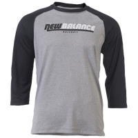 New Balance 3/4 Raglan Logo Shirt - Men's - Grey / Black