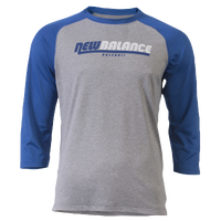 New Balance 3/4 Raglan Logo Shirt - Men's - Grey / Blue