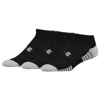 Under Armour HeatGear Tech 3 Pack No Show Socks - Men's - Black / Grey