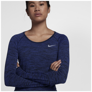 Nike Dri-FIT Knit Long Sleeve T-Shirt - Women's Running - Purple Comet/Black 31500510