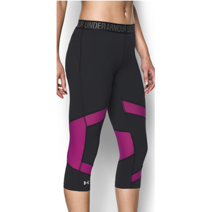 Under Armour HeatGear Coolswitch Compression Capris - Women's Running - Black/Magenta Shock/Reflective 71535007