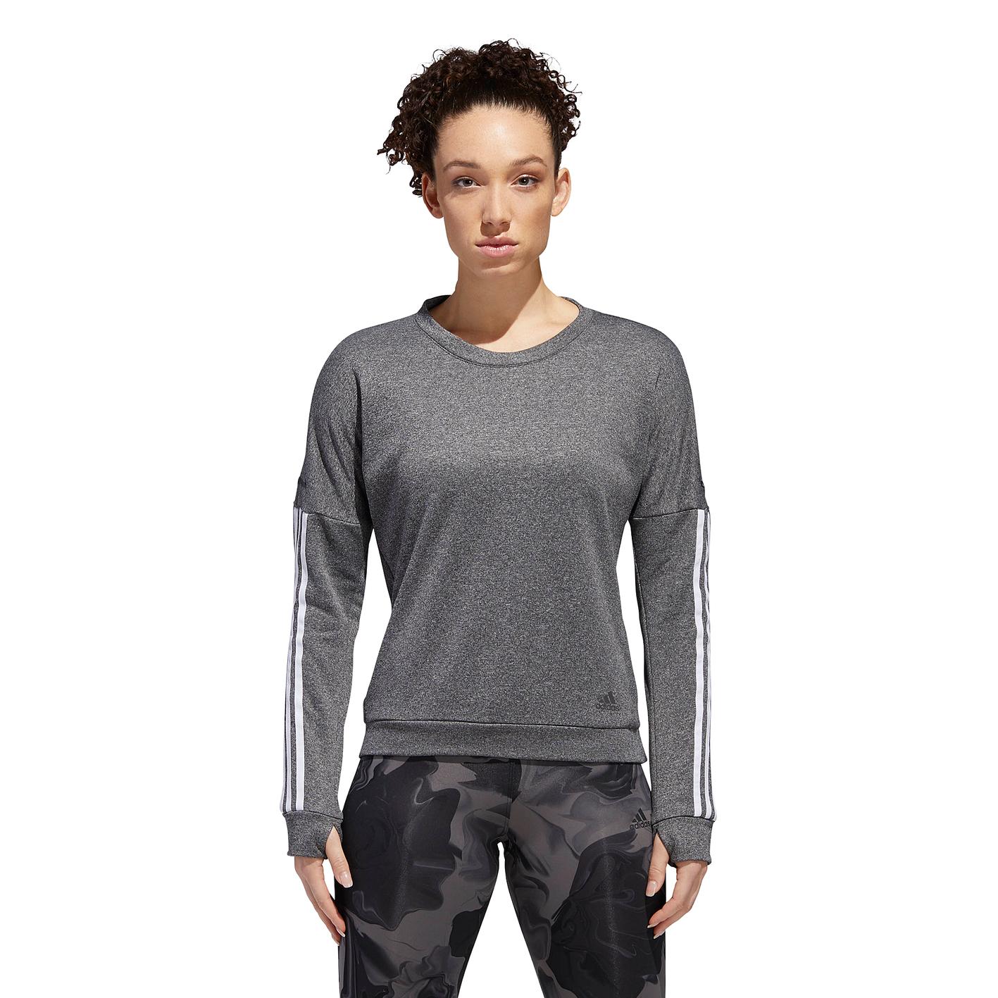 244e2058c0e adidas 3 Stripe L/S Tee - Women's - Running - Clothing - Dark Grey ...