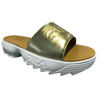 Fila Disruptor Metallic Slide - Women's - White / Gold