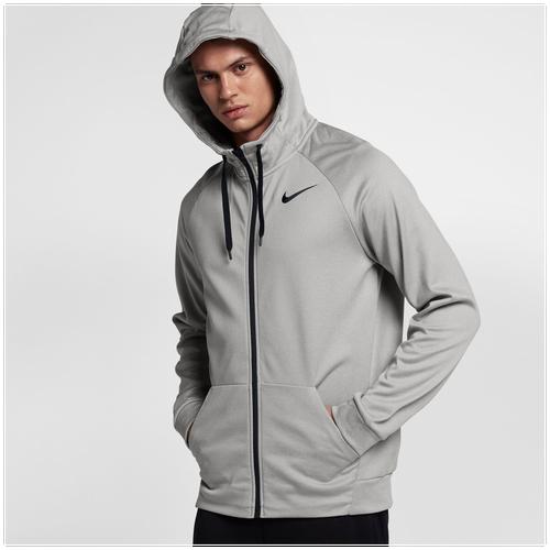 Nike Therma Full Zip Hoodie - Men's - Training - Clothing - Grey  Heather/Black