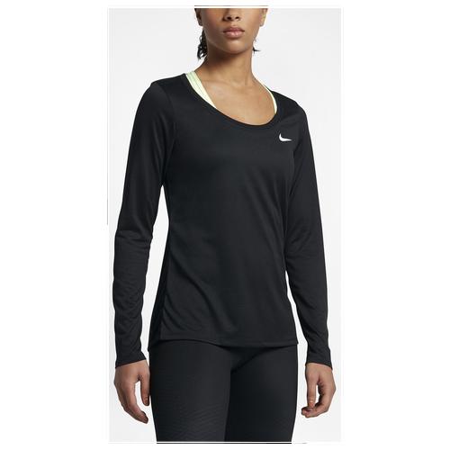 Nike L/S Legend Scoop T-Shirt 2.0 - Women's Training - Black/White 03830010