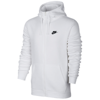 Nike Club Full Zip Fleece Hoodie - Men's - All White / White