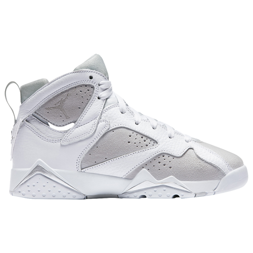 Jordan Retro 7 - Boys' Grade School - Basketball - Shoes - White/Metallic  Silver/Pure Platinum