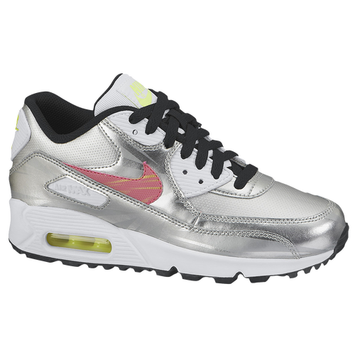 Nike Air Max 90 - Boys' Grade School - Casual - Shoes - Metallic Silver/ White/Black/Hyper Pink