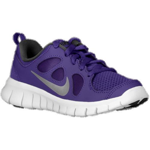 22bdeb0f7d82 Nike Free 5.0 Boys Preschool Running Shoes Court Purple Metallic  Silver Black White