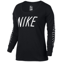 Nike L/S Legend Scoop T-Shirt 2.0 - Women's - Black / White