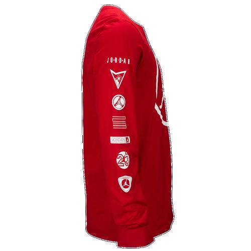 8c0d777ca33 Jordan Jumpman Long Sleeve T Shirt Mens Basketball Clothing Gym Red White  30%OFF
