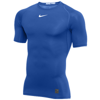 Nike Pro Short Sleeve Compression Top - Men's - Blue / White