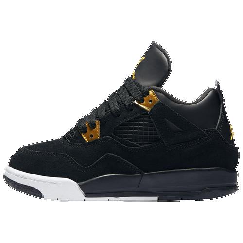 Jordan Retro 4 Boys Preschool Basketball Shoes Black