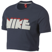 Nike Archive Cropped Bubble T-Shirt - Women's - Navy / White
