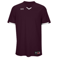Under Armour Team Ignite V-Neck Baseball Jersey - Men's - Maroon / White