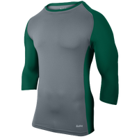 Eastbay Baseball Compression Top - Boys' Grade School - Grey / Dark Green