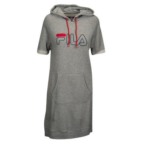 Fila Renee Hooded Dress - Women's Casual - Grey Heather/Chinese Red 1738073