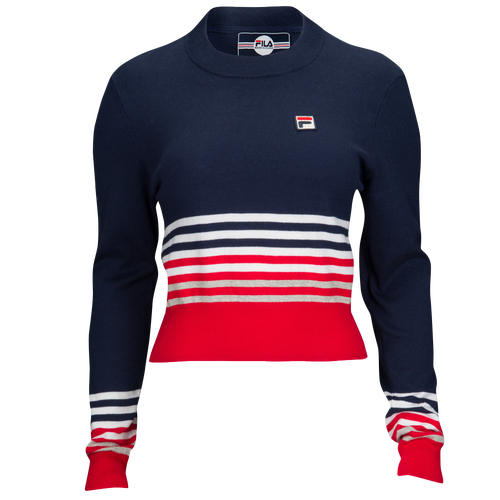 Fila Mariah Crop Sweater - Women's Casual - Navy/Chinese Red 17394412