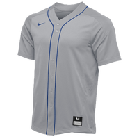 Nike Team Vapor Full Button Dinger Jersey - Men's - Grey / Blue