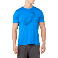 ASICS® Silver Graphic Short Sleeve T-Shirt - Men's - Blue