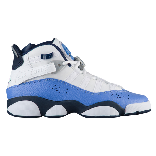 Jordan  Rings Girls Grade School Basketball Shoes White Mid Navy Royal Pulse Metallic Silver
