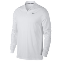 Nike Dri-Fit Victory Long Sleeve Polo - Men's - All White / White