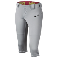 Nike Girls Softball Diamond Invader 3/4 Pants - Girls' Grade School - Grey / Black